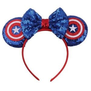 Minnie Mouse Captain America Headband with Bow